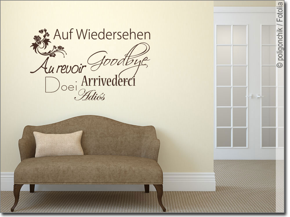 wandtattoo auf wiedersehen wandaufkleber f r den flur. Black Bedroom Furniture Sets. Home Design Ideas