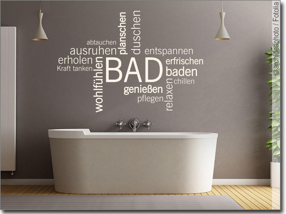 Wandtattoo Bad Verschiedene Wörter zum Thema Wellness