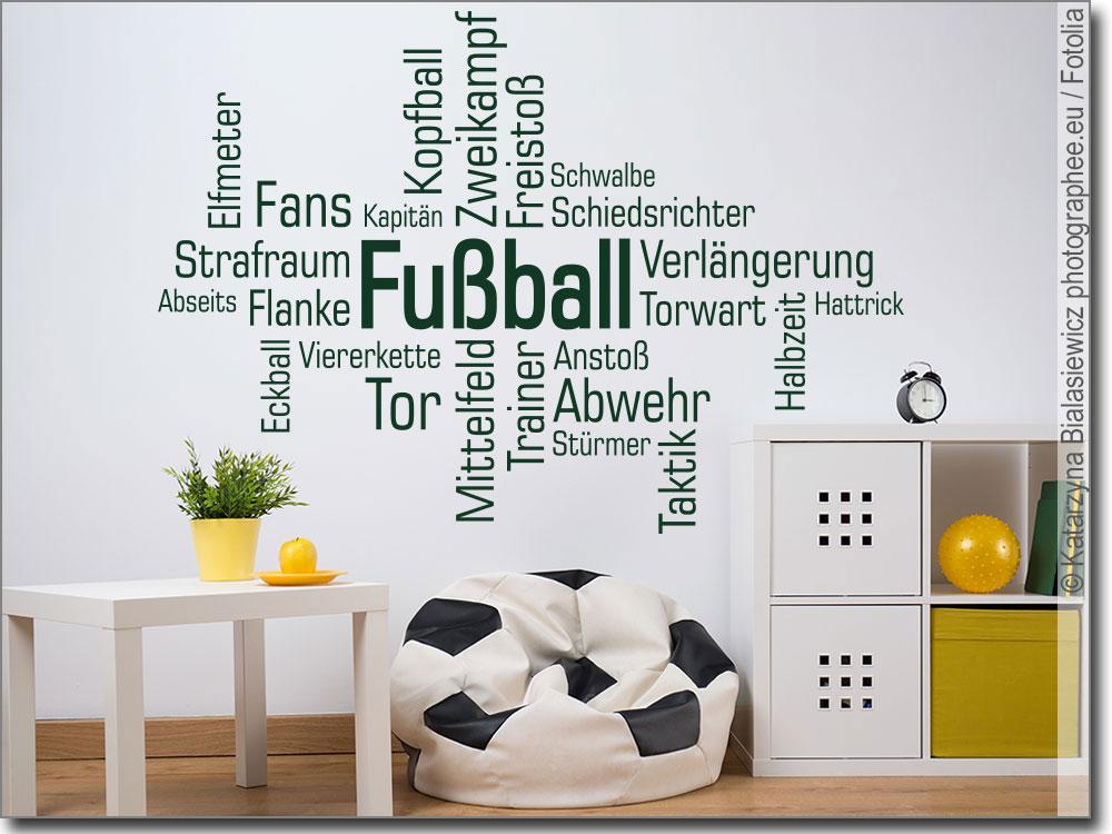 Wortwolke fussball wandtattoo f r alle fussball fans for Gestaltungsideen jugendzimmer jungen