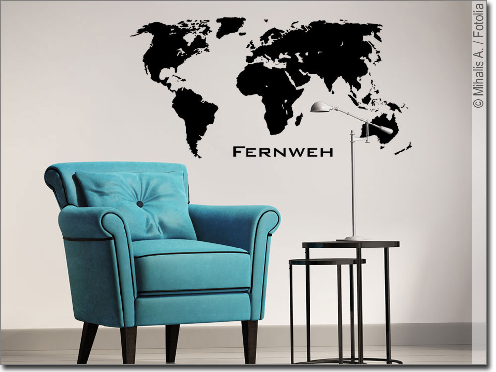 wandtattoo die welt fernweh wandaufkleber welt. Black Bedroom Furniture Sets. Home Design Ideas