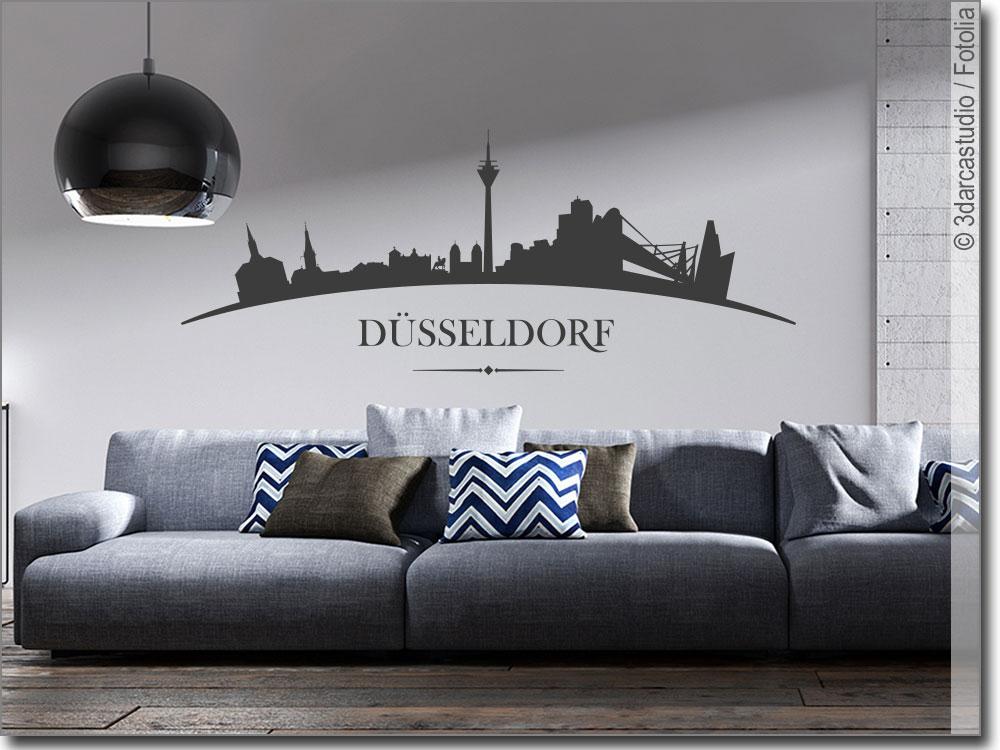 wandtattoo d sseldorf d sseldorfer skyline sticker. Black Bedroom Furniture Sets. Home Design Ideas