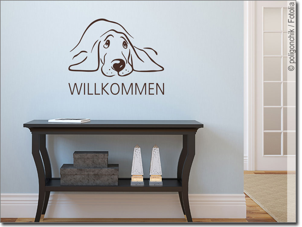 wandtattoo hund willkommen freundlicher wandsticker. Black Bedroom Furniture Sets. Home Design Ideas