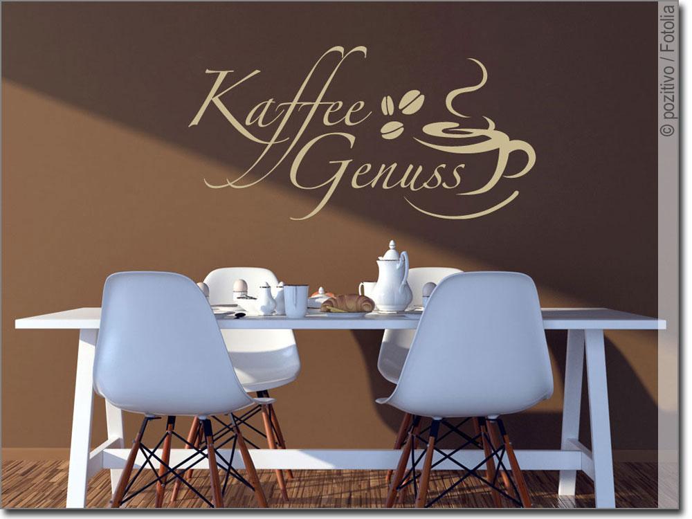 Wandtattoo Kaffee Genuss für Küche, Café und Restaurant