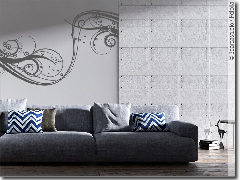 wandtattoo ornament welle wandaufkleber f r zuhause. Black Bedroom Furniture Sets. Home Design Ideas