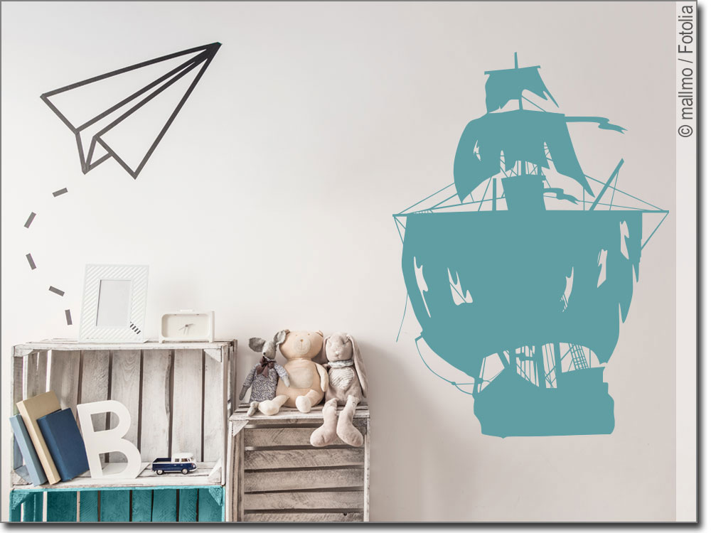 Wandtattoo piratenschiff wandsticker f r kinder for Wandtattoo piratenschiff