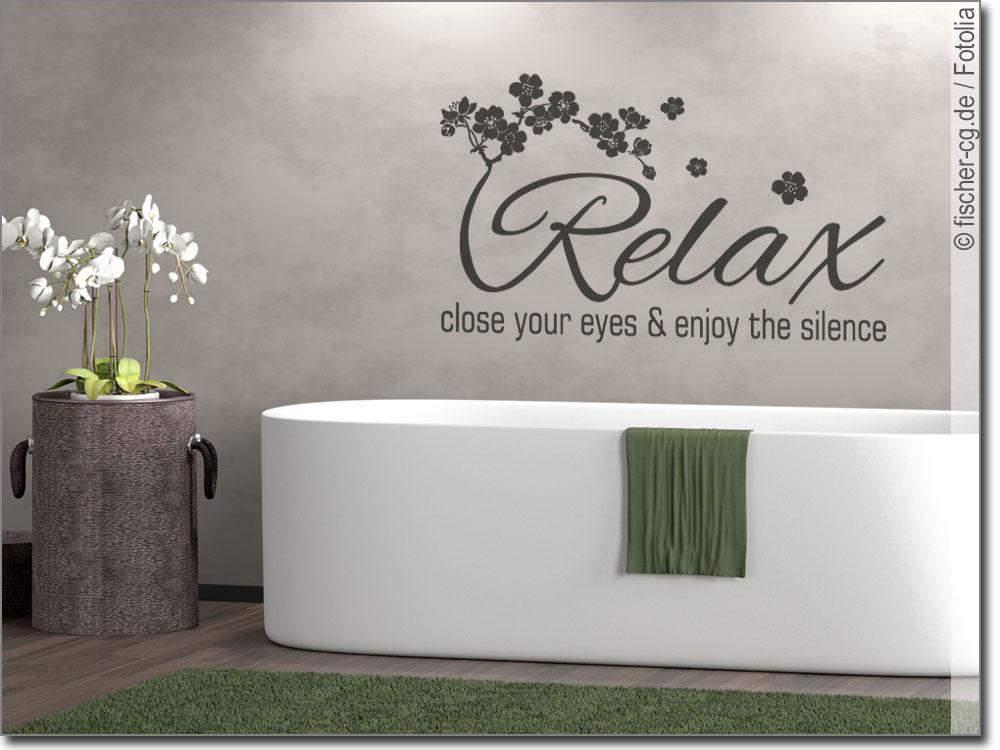 Wandtattoo Relax: Text Mit Kirschblüten Für Badezimmer