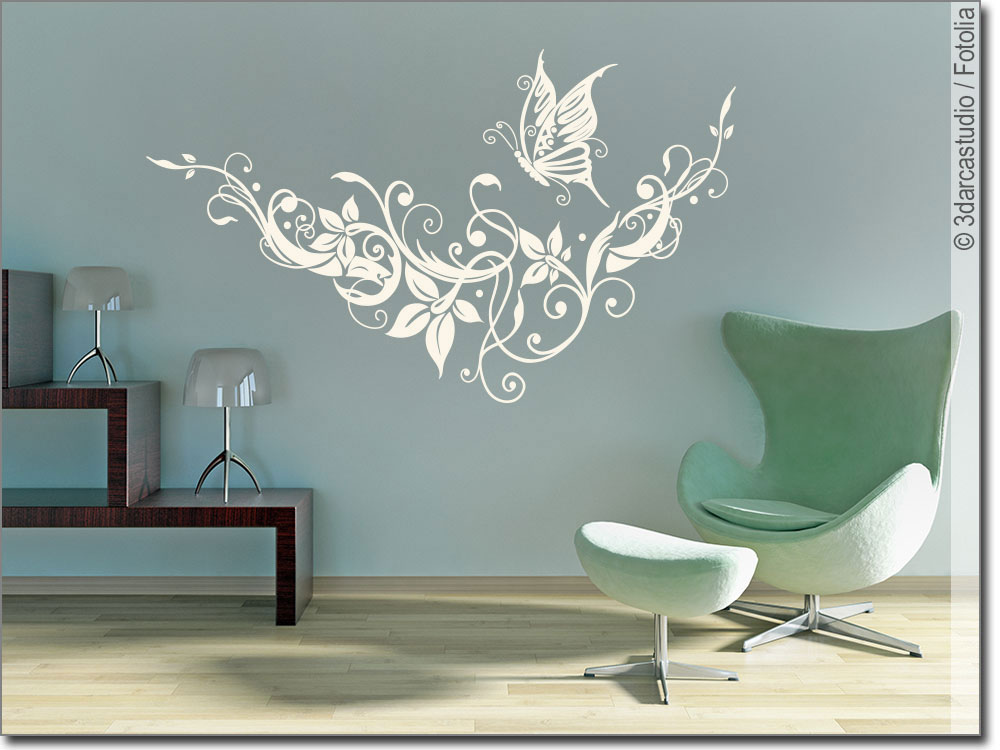 wandtattoo traum ornament schmetterling aufkleber. Black Bedroom Furniture Sets. Home Design Ideas