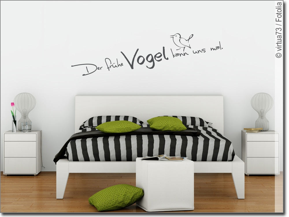 wandtattoo der fr he vogel spruch f r schlafzimmer. Black Bedroom Furniture Sets. Home Design Ideas