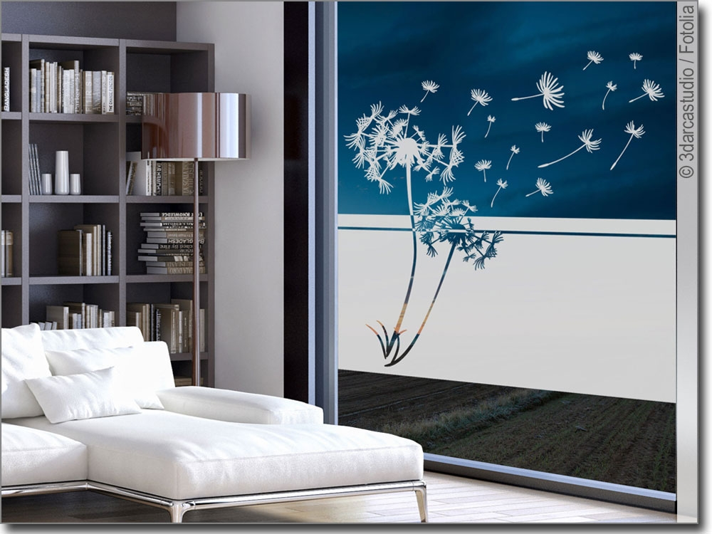 blickdichte milchglasfolie pusteblume. Black Bedroom Furniture Sets. Home Design Ideas