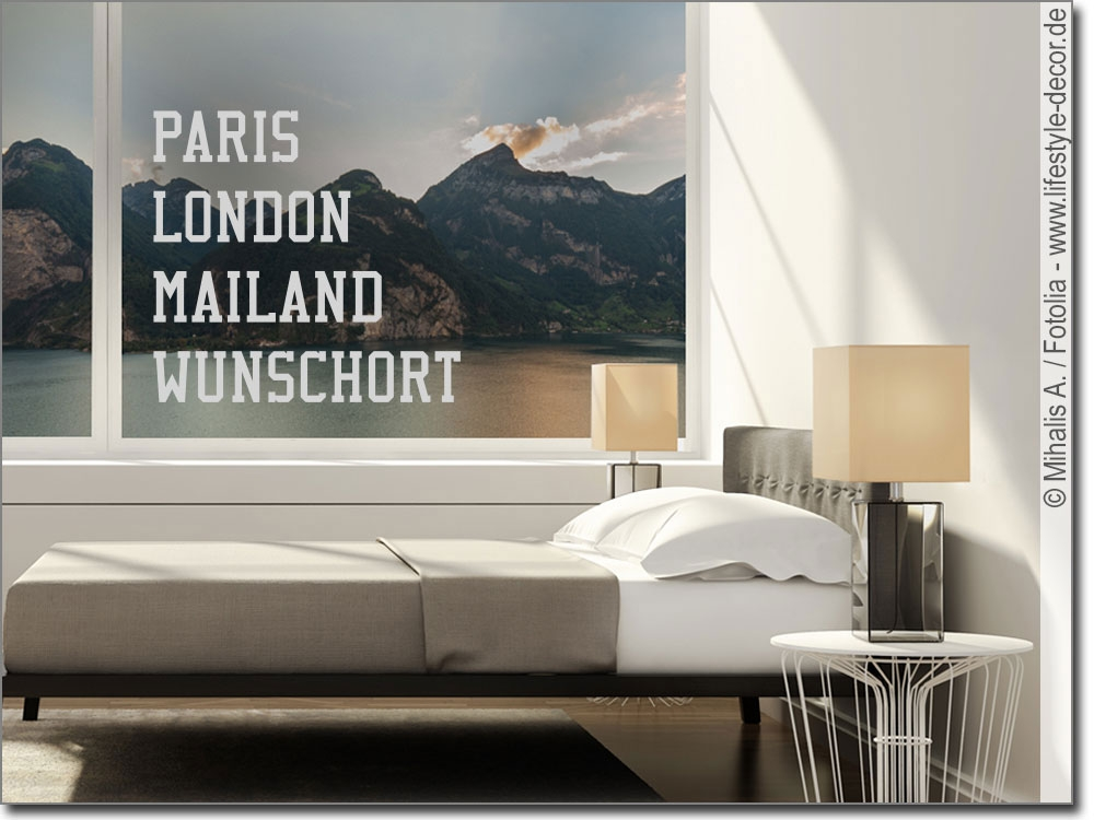Glasdekor mit Text Paris London Mailand Wunschort