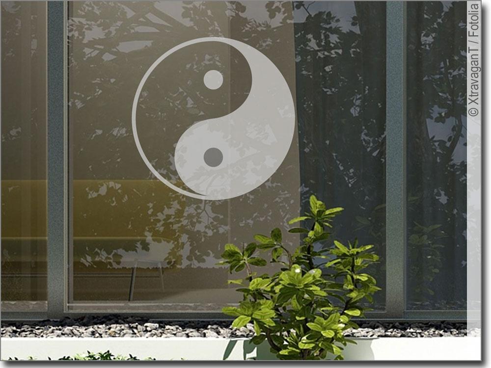 glastattoo yin yang fensteraufkleber f r zu hause. Black Bedroom Furniture Sets. Home Design Ideas