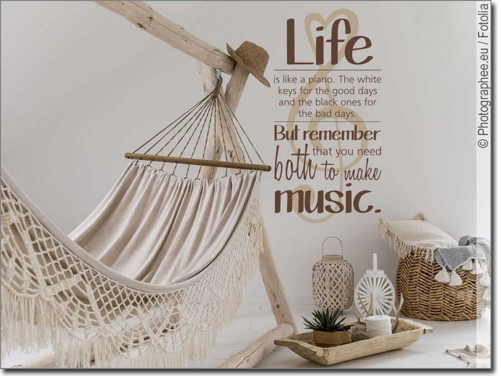 Wandspruch  Life is like a piano