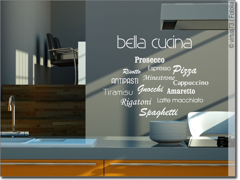 wandschrift bella cucina wandtattoo f r die k che. Black Bedroom Furniture Sets. Home Design Ideas
