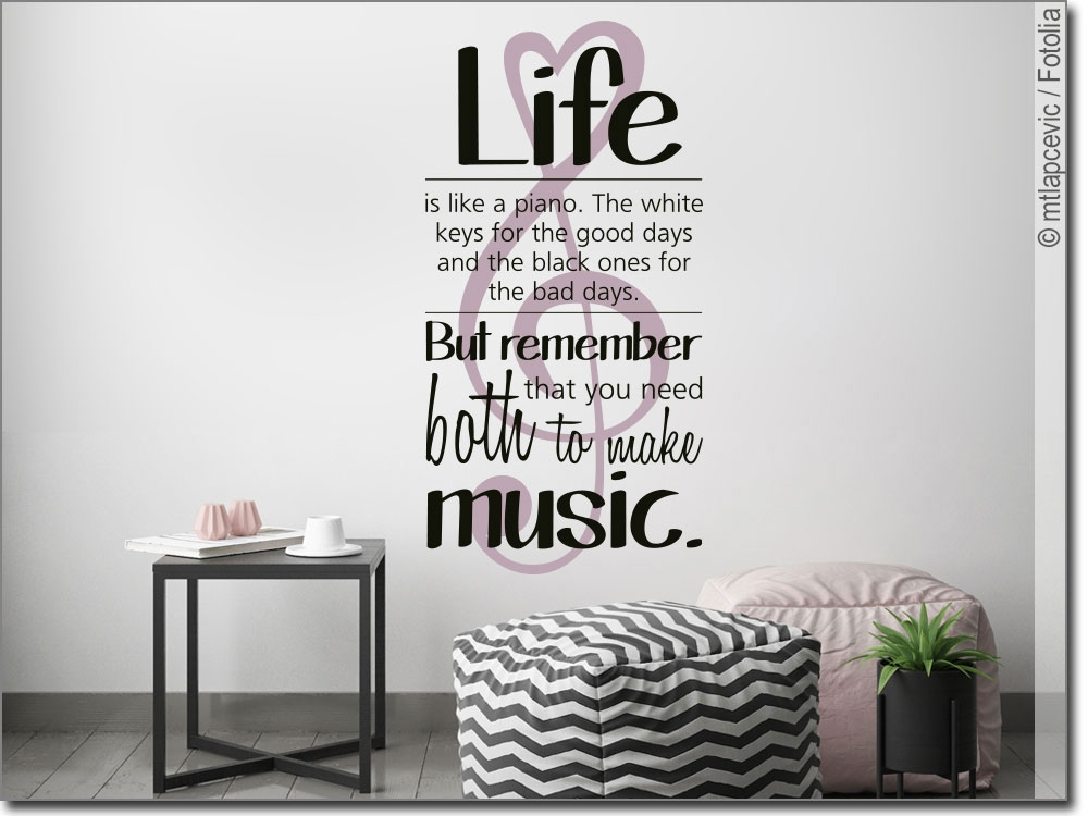 Buntes Wandtattoo mit Spruch Life is like a piano