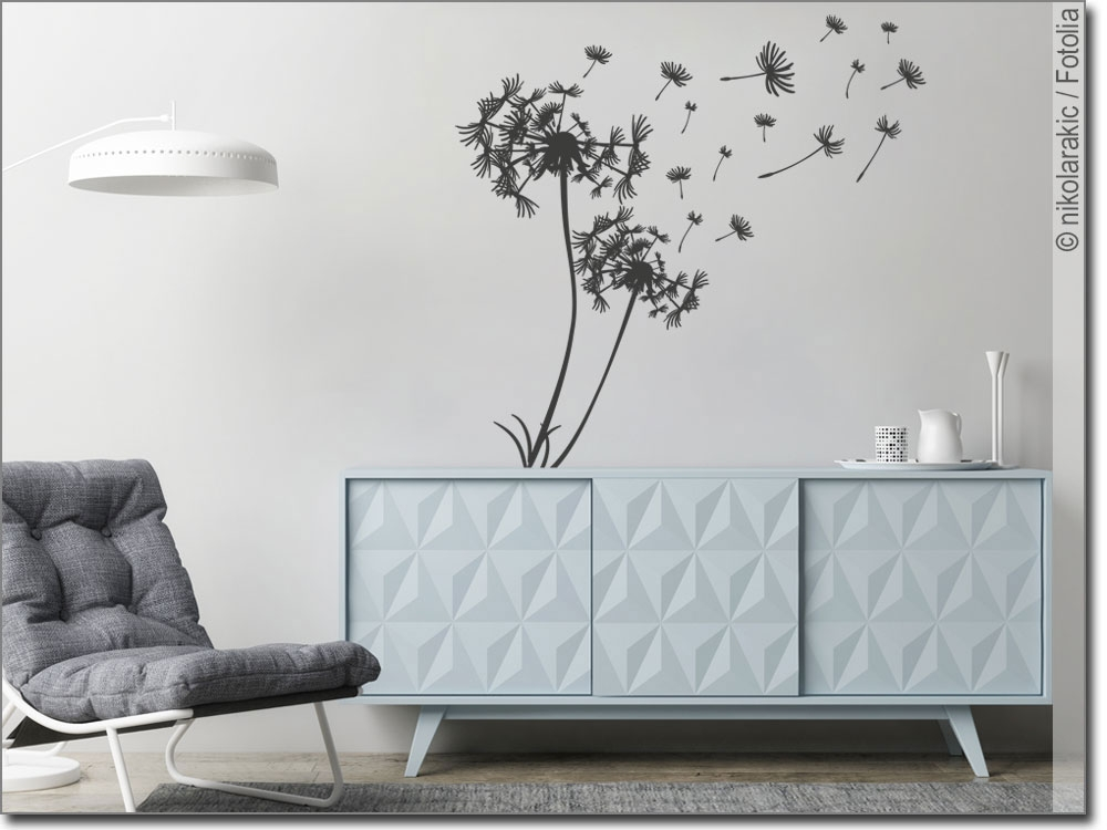 wandtattoo pusteblume im wind. Black Bedroom Furniture Sets. Home Design Ideas