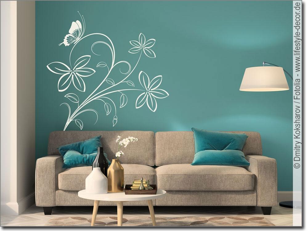 wandtattoo ornament mit schmetterling wandsticker. Black Bedroom Furniture Sets. Home Design Ideas