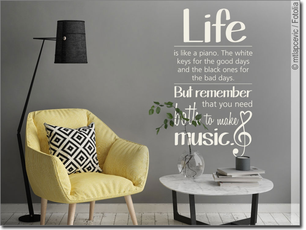 Wandtattoo mit Spruch Life is like a piano