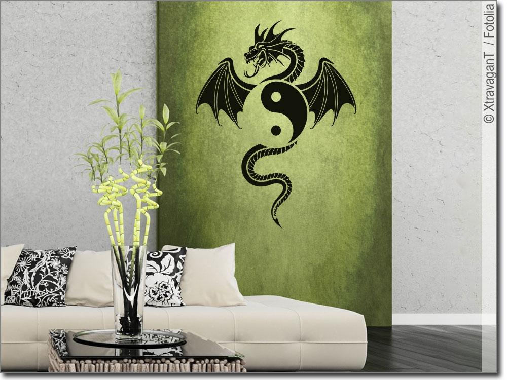 wandtattoo yin yang drache wandtattoo yin yang. Black Bedroom Furniture Sets. Home Design Ideas