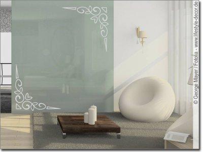 deko ecken f r glatte glasfl chen spiegelaufkleber. Black Bedroom Furniture Sets. Home Design Ideas