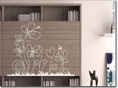 wandtattoo blumenwiese fr hlicher wandsticker. Black Bedroom Furniture Sets. Home Design Ideas