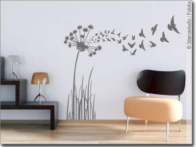 blumen str ucher als wandtattoo zur wandgestaltung. Black Bedroom Furniture Sets. Home Design Ideas