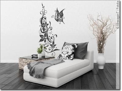 florale wandtattoo ornamente zur edlen wandgestaltung. Black Bedroom Furniture Sets. Home Design Ideas