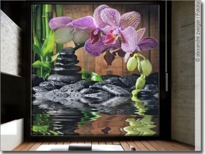 glasbild fensterdeko mit steinen aufkleber folie. Black Bedroom Furniture Sets. Home Design Ideas